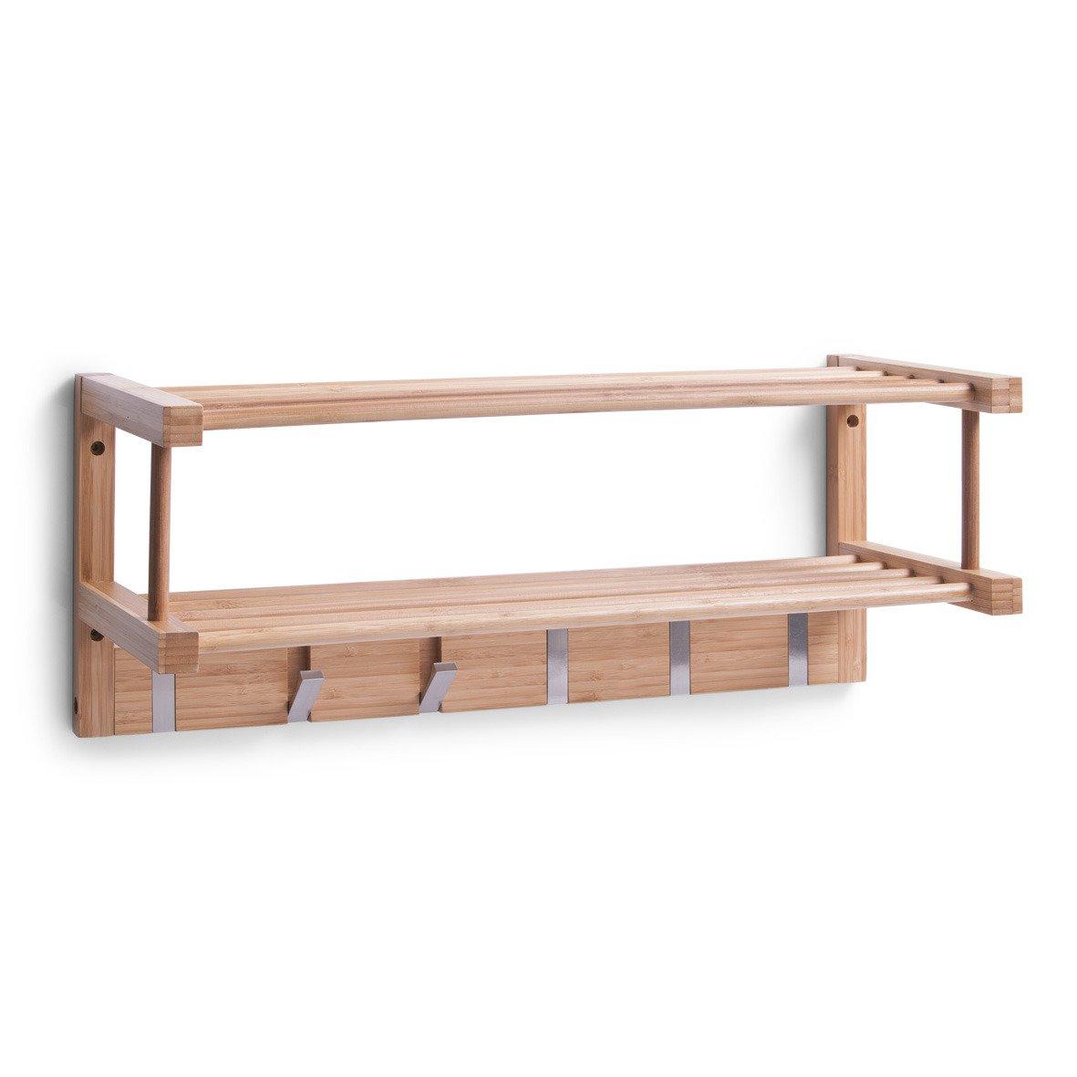 Bambusowa Półka Na Ubrania Wieszak Haczyki Zeller