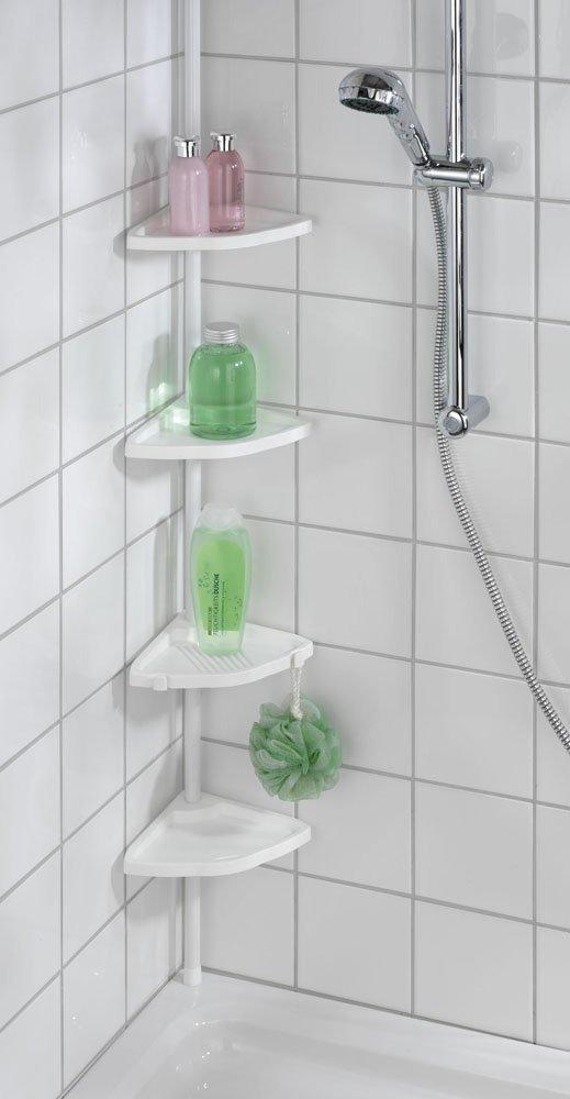 Narożna Półka łazienkowa Pod Prysznic Regał 4 Poziomowy Do